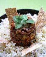 Guiso de carne de soya con arroz blanco
